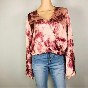 Satin tie dye bell sleeves surplice blouse
